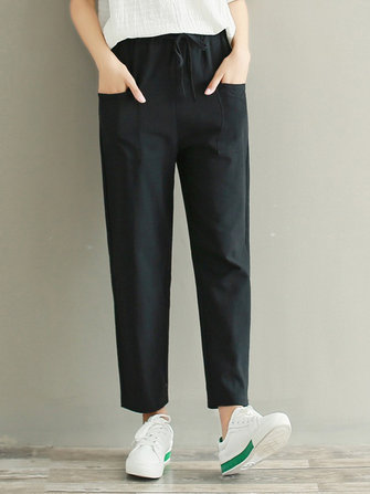 Plus Size Casual Women Loose Elastic Waist Pants