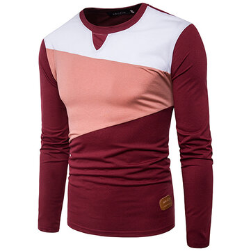Stylish Hit Color T-shirt Men's Casual O-neck Long Sleeve Tops Tees