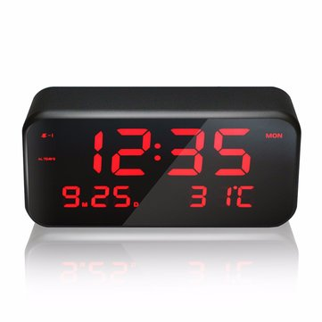 VST CL-003 Big Screen LED Digital Multi-function Music Alarm Clock with Temperature Snooze Date And Week Desktop Digital Bedside Mirror Clock