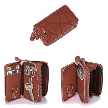 Genuine Leather Stone Pattern Double Zipper Key Bag