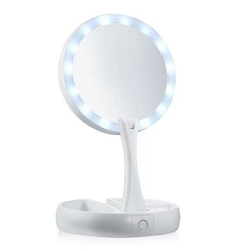 Portable LED Travel Folding Compact Mirror Double-sided 10x Magnifying Lighted Makeup Mirrors