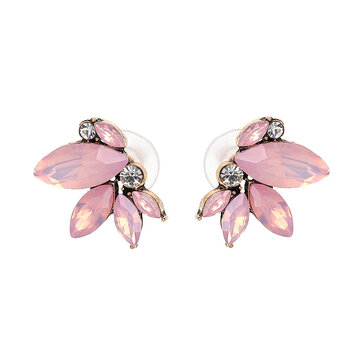 Elegant Crystal Wings Ear Stud Flower Rhinestones Earrings Gift for Her