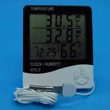 Digital LCD Electronic Thermometer Humidity Meter Clock Hygrometer Temperature