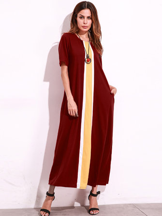 Casual Women O-Neck Short Sleeve Striped Pockets Patchwork Long Dresses