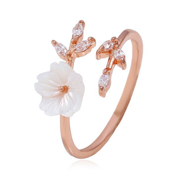 Trendy Delicate Zirconia Crystal Ring Leaf Shell Flower Rose Gold Open-end Rings for Women Girl