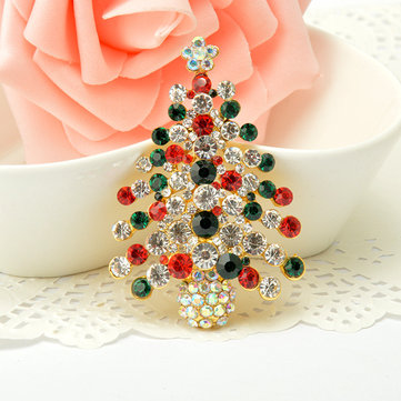 Christmas Tree Rhinestone Brooches Pins Christmas Gift