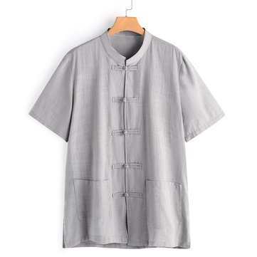 Vintage Chinese Style Simple Life Frog Button Cotton Shirts