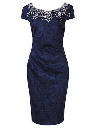 Vintage Hollow Out Embroidered Pencil Evening Party Women Dress