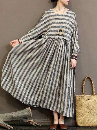Plus Size Vintage Cotton Patchwork Stripe Long Sleeve Dress