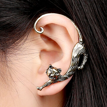 1Pc Trendy Left Ear Stud Cuff Exaggerated Alloy Winding Sexy Cat Earring for Women
