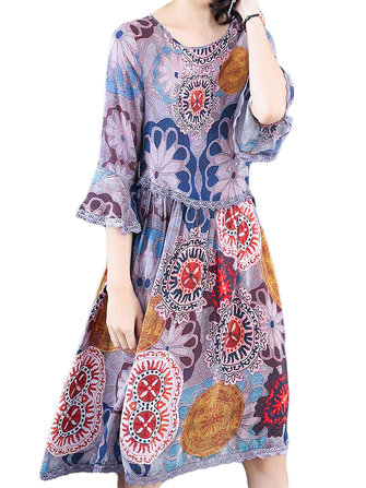 Elegant Women Floral Printed 3/4 Sleeve Mid-long Dress