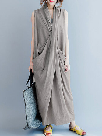 Women Sleeveless V Neck Pocket Maxi Dress