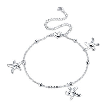 Women Jewelry Silver Plated Anklet Starfish Pendant Metal Ankle Bracelet