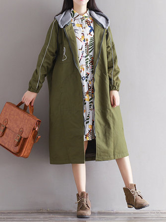 Casual Women Long Sleeve Letter Print Hooded Zip Up Jacket