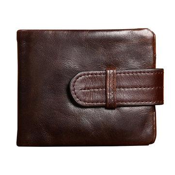 Мужчины подлинный кожаный бумажник держателя карты кармана старинные короткий дизайн кошелек