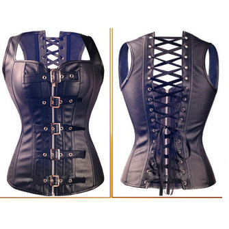 Women Steampunk Leather Overbust Zip Court Waistcoat Bustiers Corset