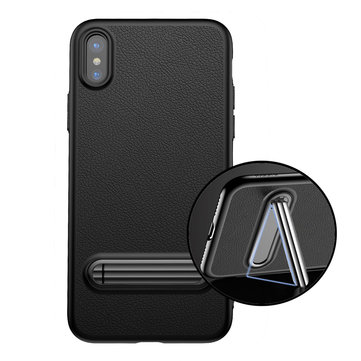 ba<x>seus Custodia Morbida Flessibile in TPU Ultra Sottile con Supporto di me<x>tallo Anti Impronte Digitali Cover per iPhone X