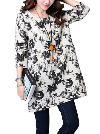 Chinese Style Casual Loose Flower Printed Floral Women Cotton Linen Blouse