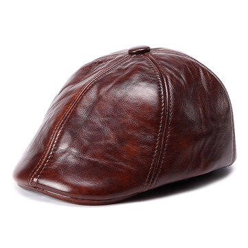 Unisex Cowhide Genuine Leather Earflap Ear Muffs Beret Hat Ear Protective Paper Boy Cabbie Cap