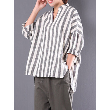 Women V-neck Long Sleeve Casual Loose Stripe Blouses
