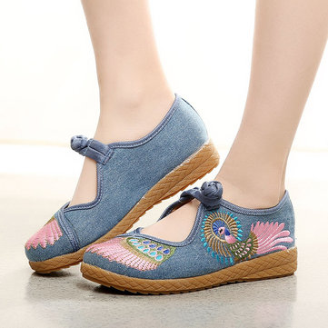 Women Shoes Canvas Embroidered Loafers With Chinese Buttons
