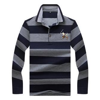 남성 캐주얼 긴 소매 티셔츠 옷깃 스트라이프 코튼 세련된 젊은 티셔츠