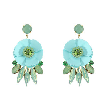 JASSY® Women Fashion Flower Rhinestone Ear Drop Earring