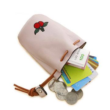 Women Pu Leather Fruit Pattern Coin Bag String Change Bag