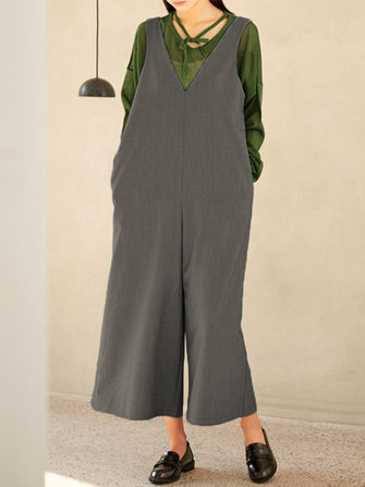 Women Sleeveless V Neck Loose Wide Leg Overalls