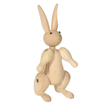Wood Carving Miss Rabbit Figurines Joints Puppets Animal Art Home Decoration Crafts