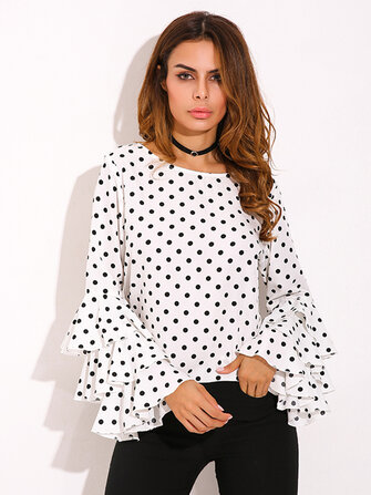 Sweet Women Polka Dot Ruffle Sleeve O-Neck Blouses