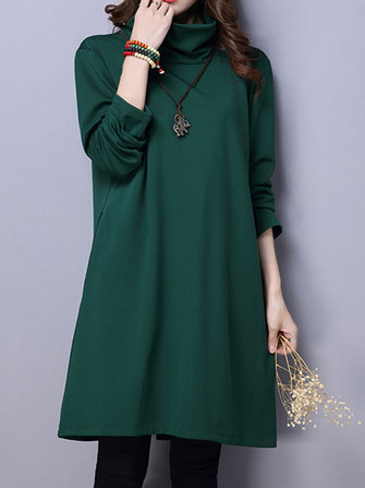 Casual Women Solid Pure Color Turtleneck Long Sleeve Dress