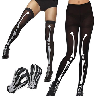 Halloween Costumes Adult Scary Cosplay Skeleton Ghost Gloves Stockings Tights