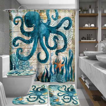 165 180cm Octopus Waterproof Bathroom Shower Curtains With C Shaped Curtain Hooks