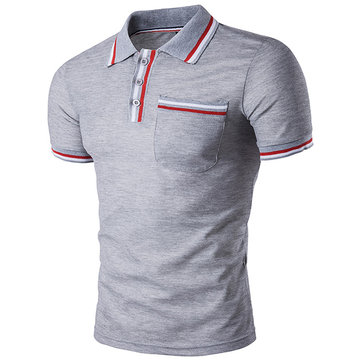 Fashion Personality Colour Bar Tops Tees Men's Turn Down Collar POLO T-shirt