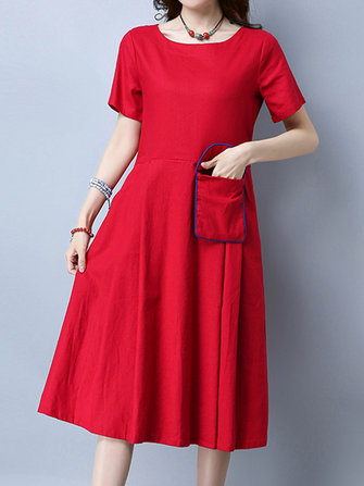 Folk Style Embroidery Pocket Short Sleeve Dresses For Women