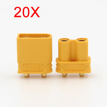 20X Amass XT30UPB XT30 UPB Plug 2mm Male Female Bullet Connectors Plugs For PCB