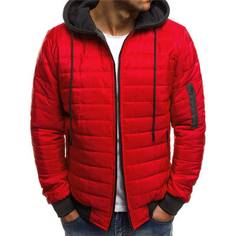 Quilted Padded Jacket Contrast Color Hooded Winter Warm Coat