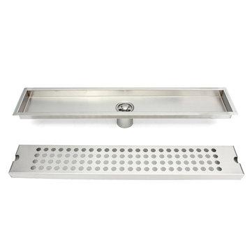 Stainless Steel Wetroom Linear Shower Drain Long Floor Drain 50x10x2.3cm