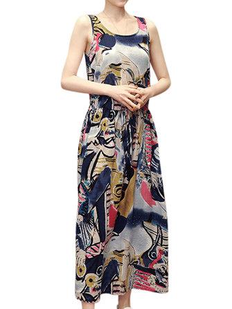 Femmes Vintage imprimé robe ronde Robes sans manches Mid Dress