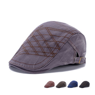 Men Vintage Washed Beret Hat Buckle Paper Boy Twill Hats Newsboy Cabbie Gentleman Caps