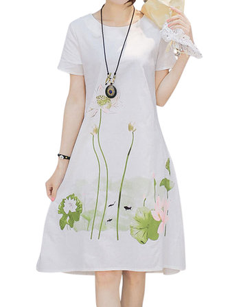 Women Printed Short Sleeve Pocket Summer Mid Dresses
