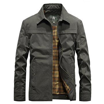 Mens Casual Cotton Outdoor Turn-down Collar Fashion Spring Shirt Jacket