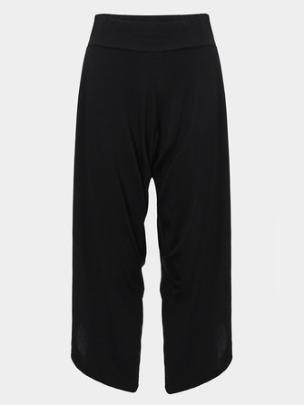 Casual Black Women Stretch Low Waist Pleats Palazzo Pants