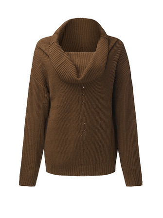 Casual Women Pure Color Long Sleeve Heap Collar Sweater