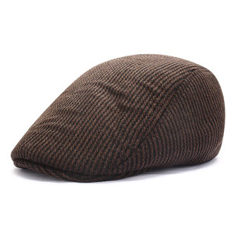 Men Male Ear Muff Cotton Blend Beret Cap Earflap Black Stripe Thick Flat Winter Hat