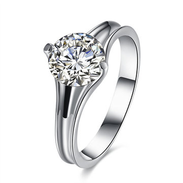 INALIS Zircon Platinum Plated Wedding Gift Finger Rings