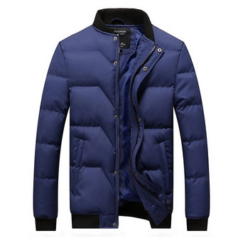 Winter Fashion Solid Color Thickened Warm Stand Collar Cotton Jackets for Men