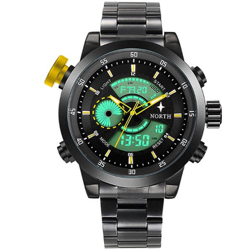 NORTH 6015 Fashion Men Digital Watch Casual Luminous Muti-function Stainless Steel Strap Wristwatch