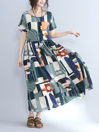 Casual Women Color Block Drawstring Waist Short Sleeve Maxi Dresses